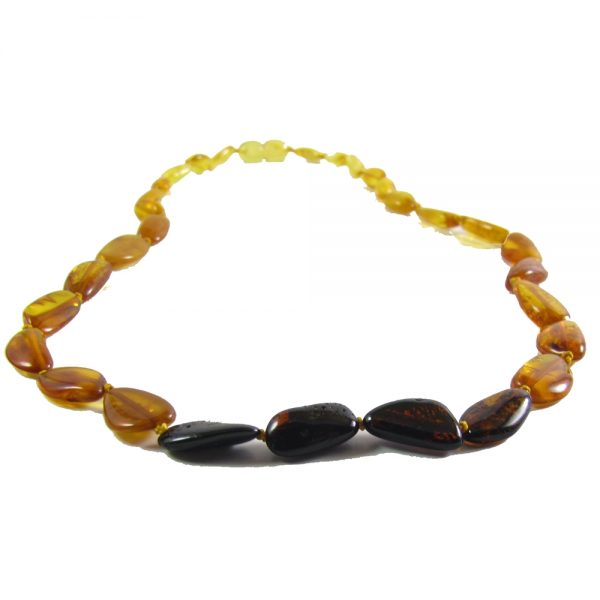Baltic Amber Polished Rainbow Bean Bracelet- 7-8 inch Screw Clasp